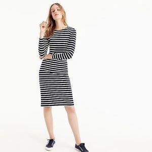 J. Crew Shirt Dress Striped Navy Ivory Petite